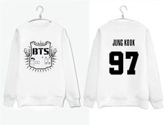 Kpop Korean Pop Bangtan Boys Long Sleeve Black and white BTS Women Mens Sweatshirts