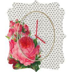 Allyson Johnson Floral Polka Dots Quatrefoil Clock – DENY Designs