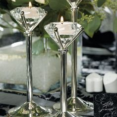 Set of 3 glass diamond shape tea light candle holders on silver plated stem and base. Three sizes included with each order include 7 inches tall, 8 inches tall, and 10 inches tall. Candle Holder Set, Tealight Candle Holders, Tea Light Holder, Candlestick Holders, Diamond Theme, Diamond Party, Diamond Wedding Theme, Garter Wedding, Tea Light Candles