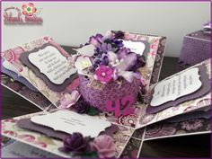 42nd Birthday with Flowers and Purple Theme Exploding Box Card