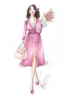 Fashion illustration, Fashion girl, Fashion print, Fashion sketch, Fashion wall art, Spring art, Pink wall art, Spring wall art, Fashion art