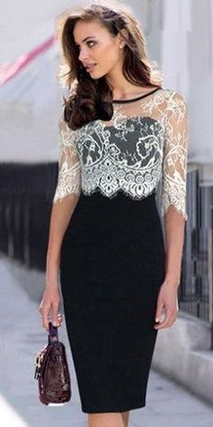 -Fashion Lace Spliced Half Sleeve Slim Fit Pencil Dress Vestidos See it Pretty Dresses, Sexy Dresses, Beautiful Dresses, Evening Dresses, Fashion Dresses, Formal Dresses, Fashion Clothes, Sexy Party Dress, Mode Outfits