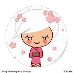 Chica de la flor de cerezo pegatina redonda