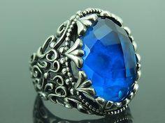 Turkish Handmade Jewelry 925 Sterling Silver Aquamarine Stone Men's Ring Sz 10