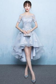 High Low Homecoming Dress Lace Prom Dress 2018 Off The Shoulder Light Grey Appli. High Low Homecoming Dress Lace Prom Dress 2018 Off The Shoulder Light Grey Applique Short Sleeve A Line Asymmetrical Graduation Dress Grad Dresses Short, Lace Homecoming Dresses, Trendy Dresses, Evening Dresses, Short Prom, Graduation Dresses, Dress Prom, Dress Formal, Beautiful Short Dresses