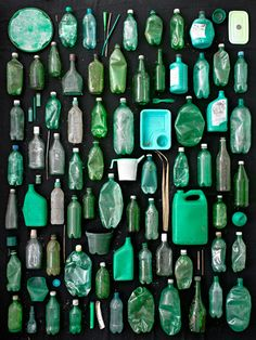 Green Containers - from Barry Rosenthal's Found in nature series . I hate arranging things with this kind of precision, but  love looking at someone else do it.
