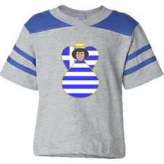 Greek Flag Angel Black Hair Toddler Football T-Shirt - Heather/Royal -- Lovely design shows an angel, with black hair, wearing the Greek Flag, or Flag of Greece. Wonderful for celebrating Oxi Day (aka Ohi or Ochi), Christmas or any special time. Let her fly high while you share your pride and love in your traditions, culture, heritage and ancestry. Travelers will love her as a memento of a trip, vacation or holiday. $22.99 http://ink.flagnation.com From Auntie Shoe.