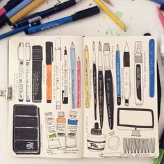 Heegyum Kim: My Art Supplies morning... #drawing #doodle #moleskine #sketchbook…