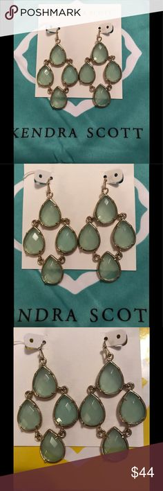 Kendra Scott Chandelier Earrings Custom chalcedony chandelier earrings set in gold. These are newer stones from a Brynn bracelet & an older setting from a different pair of earrings. The stones were swapped. GUC--frames show some wear & tear. Price reflects that. Kendra Scott Jewelry Earrings
