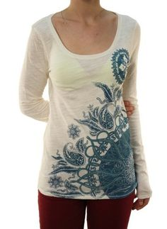 Lucky Brand Womens Paisley Pattern Long Sleeve Scoop Neck Top Cream White Lucky Brand. $37.98