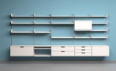 Dieter Rams' 606 Universal Shelving System which has been in production since the 1960s