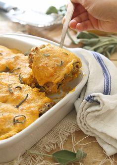 Butternut Squash Lasagna Roll Ups with Chicken & Spinach.