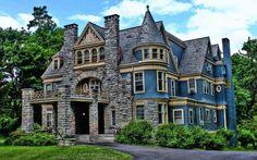 Image detail for -Victorian Mansion House - Architecture, Blue, Bushes, Clouds, Colours . Victorian Architecture, Beautiful Architecture, Beautiful Buildings, Beautiful Homes, House Architecture, Style At Home, Home Tumblr, Victorian Style Homes, Victorian Era