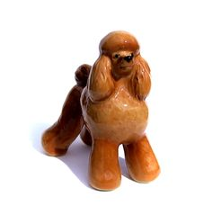 Poodle dog Porcelain Big size realistic  figurine  Art Collectibles brown  color High-quality,  + Video by GlassFigurinesStudio on Etsy