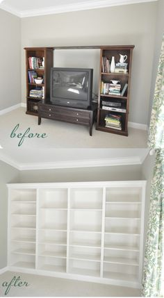 Entertainment centers are ok but they are becoming more and more outdated. Built-in bookcases however, will never go out of style. These great bookshelves are from Centsational Girl and they are actually shelving units bought from IKEA. They're just tweaked a little in classic DIY fashion to...
