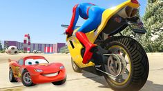 LEARN COLORS with Lightning McQueen & Motorbike - Disney Cars Spiderman ...