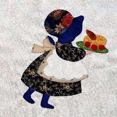 Eveline und 1001 Quilts: Die Sunbonnets im Detail Felt Applique, Applique Quilts, Embroidery Applique, Applique Templates, Applique Patterns, Quilt Patterns, Sunbonnet Sue, Girls Quilts, Baby Quilts