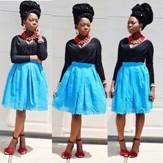 African Clothing Lace Blue Skirt by Veroexshop on Etsy