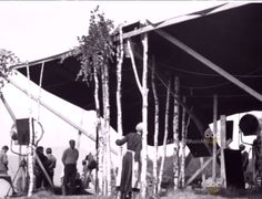 1965 The Sound of Music backstage. False trees in singing scene.