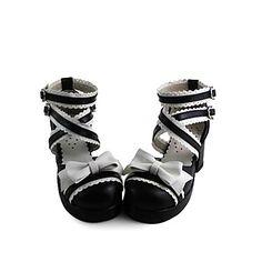 Handmade Blanc et noir en cuir PU 6.3cm de haut talon de Gothic Lolita Chaussures – EUR € 49.99