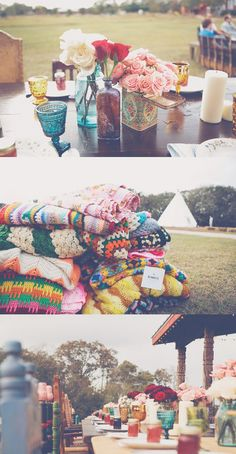 Boho chic on a dime. Be sure to use that Hipster filter when you post your treasure photos online :)Blankets, dishes, decor. Boho chic on a dime. Be sure to use that Hipster filter when you post your treasure photos online :) Boho Wedding, Wedding Flowers, Dream Wedding, Wedding Day, Hippie Chic Weddings, Hipster Wedding, Rustic Wedding, Wedding Reception, Hipster Party