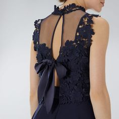 Buy Navy Coast Janie Lace Tie Top from our Women's Shirts & Tops range at John Lewis & Partners. Coast Bridesmaid Dresses, Elegant Dresses, Formal Dresses, Midi Length Skirts, Strap Heels, Feminine, Tie, Outfits, Clothes