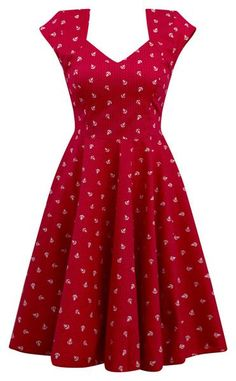 Women's Sailor Girl Anchor Print Swing Dress by Double Trouble Apparel (Red)This red and white anchor print with tiny polka dots dress Pinup, retro, rockabilly style. Fitted waistline with added stretch in back accommodates any girls Vinta Vintage Midi Dresses, Cute Dresses, Vintage Outfits, Elegant Dresses, Summer Dresses, Fall Dresses, Sexy Dresses, Formal Dresses, Wedding Dresses