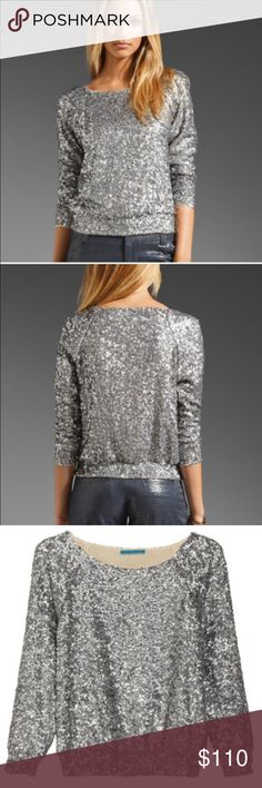Alice & Olivia Sequin Long Sleeve Top Gorgeous Top from Alice & Olivia, 100% silk inner, it's very comfie and silky inside, and sparkly outside. Very cute with black mini skirt or shorts, perfect for going on dates, new year eve celebration, or any events!! Alice + Olivia Tops