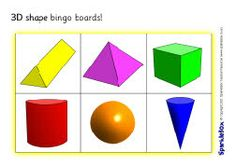 3D shapes bingo boards