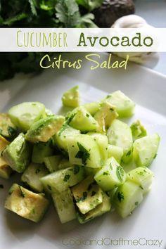 Cucumber Avocado Citrus Salad - Light, refreshing, DELISH!  http://cookandcraftmecrazy.blogspot.com/2014/01/cucumber-avocado-citrus-salad.html
