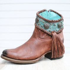 Cognac/Turquoise Concho Ankle Boot - Love, love, love these. Best Cowboy Boots, Western Boots, Barn Boots, Corral Boots, Leather Tooling, Tooled Leather, Motorcycle Boots, Ankle Booties, Spring Summer Fashion