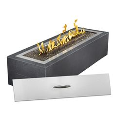 Patioflame Linear Outdoor Fire Pit Liquid Propane with Natural Gas Conversion Kit - Glass Fire Pit, Gas Fire Pit Table, Fire Pits, Natural Gas Fire Pit, Modern Fire Pit, Burner Covers, Patio Heater, Outdoor Heaters, Brick Patios