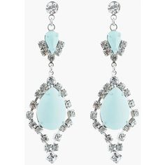 TOM BINNS Pastel Mint And White Crystal Madame Dumont Earrings ($310) ❤ liked on Polyvore
