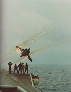 """Buccaneer firing 2"""" rockets for the amusement of the deck crew. This is not photoshopped."""