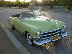 """This is a 1949 Cadillac Series 62 Convertible. Yes, the color is original: Color Code 21, """"Chartreuse."""" #1949cadillacconvertibleclassiccars"""