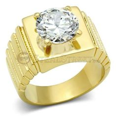 Size 9 Clear Round Cut Cubic Zirconia Solitaire Brass Men's Ring
