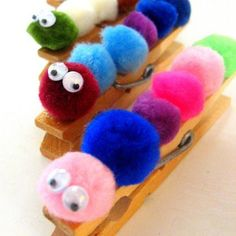 Clothespin Caterpillars A few puff balls and some googly eyes make for a darling little companion. Try them as a bookmark!