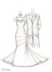 1 Year Wedding Anniversary Gift From Maid Of Honor : Wedding Dress Sketches. Perfect one year anniversary gift, wedding day ...
