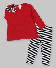 Look what I found on #zulily! Red & Black Stripe Bow Tunic & Leggings - Infant #zulilyfinds