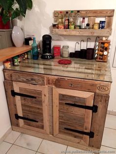 Pallet Kitchen Cabinet with Glass Top