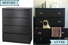 Mochi in her drawers. MALM draws Ikea Hack with new drawer pulls.