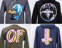 Een aantal kledingstukken van Odd Future's kledinglijn, met vrij absurde afbeeldingen en daarom misschien ook zo leuk en origineel