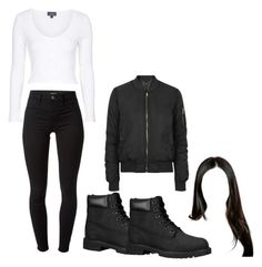 """""""Untitled #256"""" by anniken-ns on Polyvore featuring J Brand, Topshop and Timberland"""