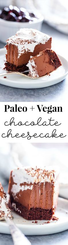 Paleo + Vegan Chocolate Cheesecake with Chocolate Cookie Crust Get excited, because the creamiest, smoothest, richest vegan chocolate cheesecake is about to happen in your kitchen! This cheesecake ha Paleo Dessert, Healthy Sweets, Gluten Free Desserts, Vegan Desserts, Dessert Recipes, Healthy Chocolate, Chocolate Filling, Chocolate Cheesecake, Chocolate Recipes