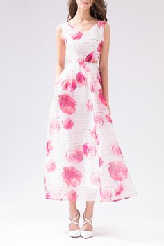 Rose Print Hollow Out Organza Dress