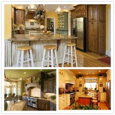 My Kitchen Theme; French Country Bistro Kitchen Design and Decor. Warm colors, beadboard, dark red-dark yellow-olive green-cream color accents. Green foliage, fruit baskets, wood accents & other organic like decor. A warm & comfortable space for gathering & entertaining.