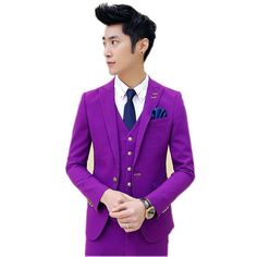 e97d7ae88f 74.72 45% de réduction|2017 nouveau printemps Haute qualité décontracté  violet pur couleur Simple Boutonnage costume hommes, jolie pochette, robe  de mariage ...