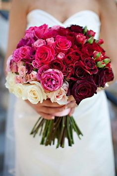 A Wonderful Bridal Bouquet Arranged With Several Varieties Of Roses, In An Ombré Ivory To Deep Red/Black Color Palette~~