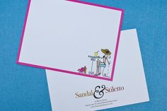 """Beach Girl notecards by Sandal & Stiletto  These 4.25"""" x 5.5"""" single sided cards come with white envelopes."""
