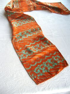 silk scarf brilliant orange and turquoise green by margotbianca, $30.00